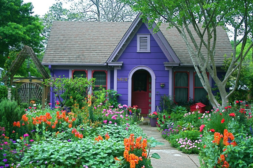 cottage garden purple house spring flowers