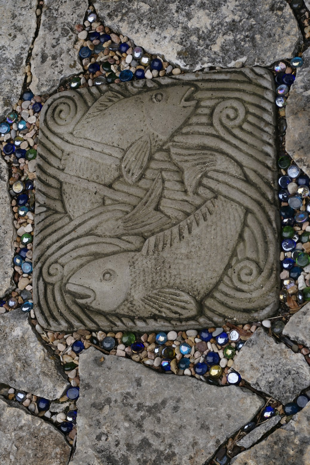 fish fish stepping stones marbled glass garden steps