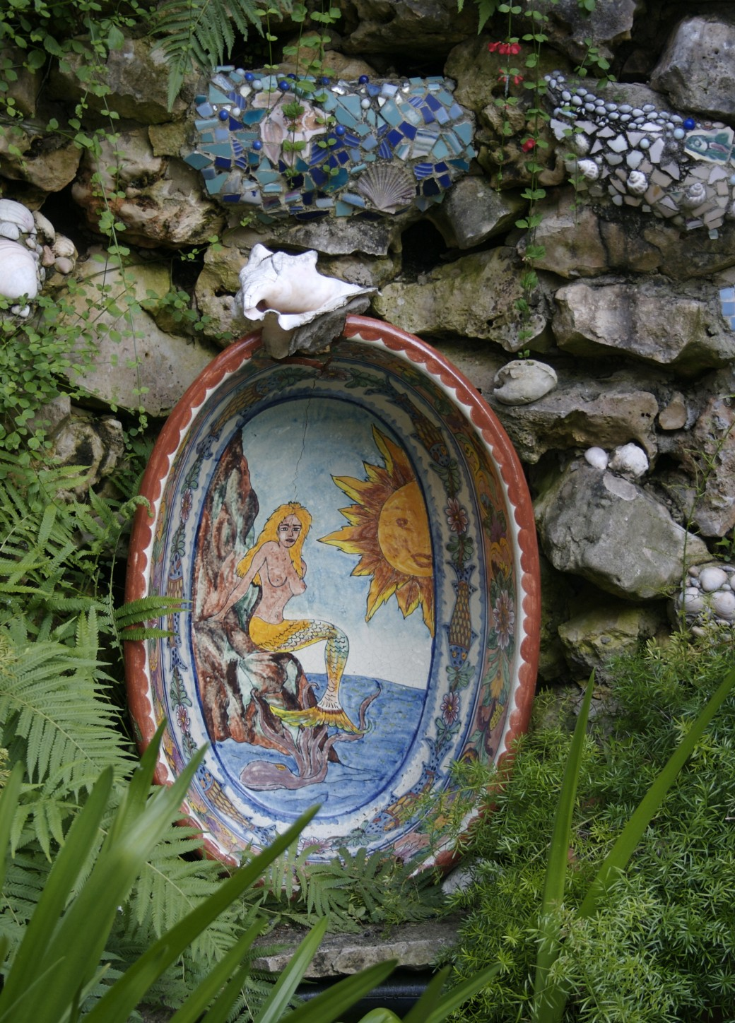 mermaid Mexican painted shrine grotto fishpond