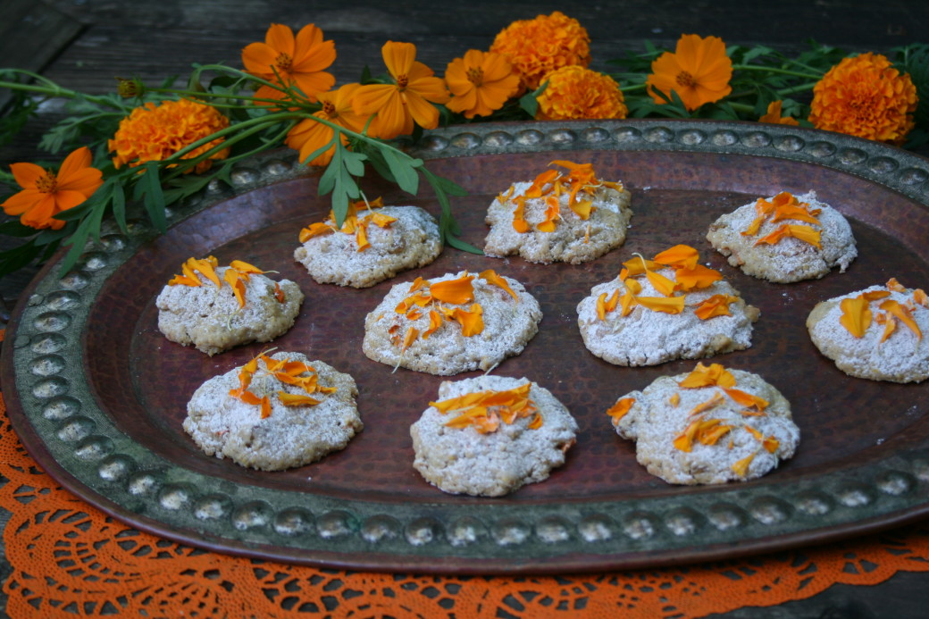 Day of the Dead cookies marigold petals