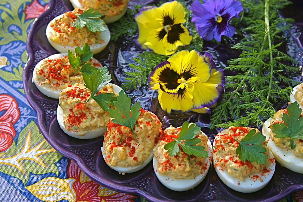 deviled eggs easter pansies egg plate