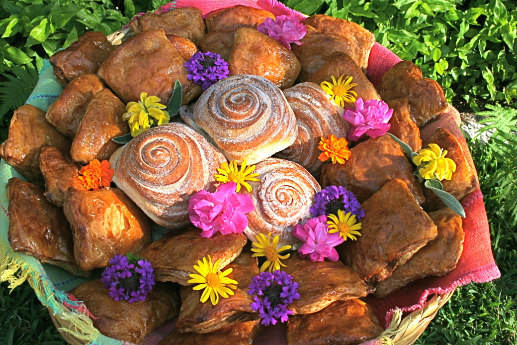 pastries on platter with flowers mexican pan dulce